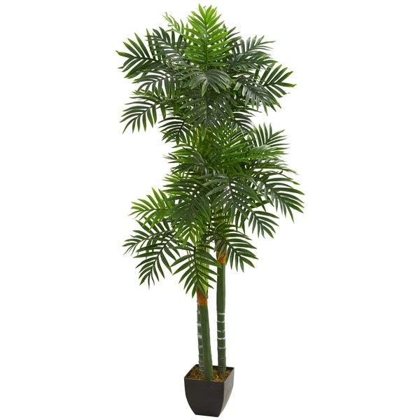 5.5' Triple Areca Palm Artificial Tree - h: 5.5 ft. w: 13 in. d: 13 in