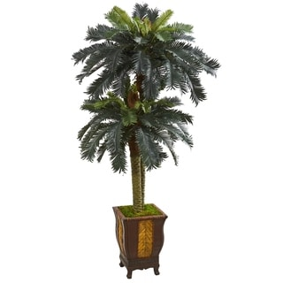6' Double Sago Palm Artificial Tree in Designer Planter - h: 6 ft. w: 34 in. d: 34 in