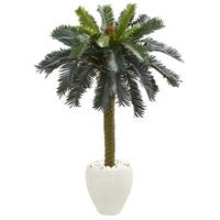 4' Sago Palm Artificial Tree in White Planter - h: 4 ft. w: 34 in. d: 32 in
