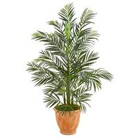 4' Areca Palm Artificial Tree in Terra-cotta Planter UV Resistant (Indoor/Outdoor) - h: 4 ft. w: 26 in. d: 30 in