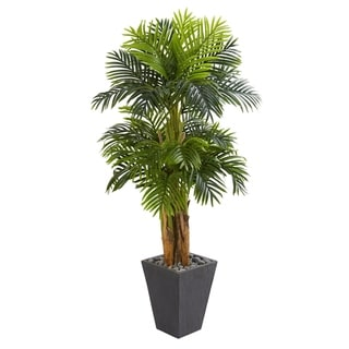 5.5' Triple Areca Palm Artificial Tree in Slate Finish Planter - h: 5.5 ft. w: 34 in. d: 30 in