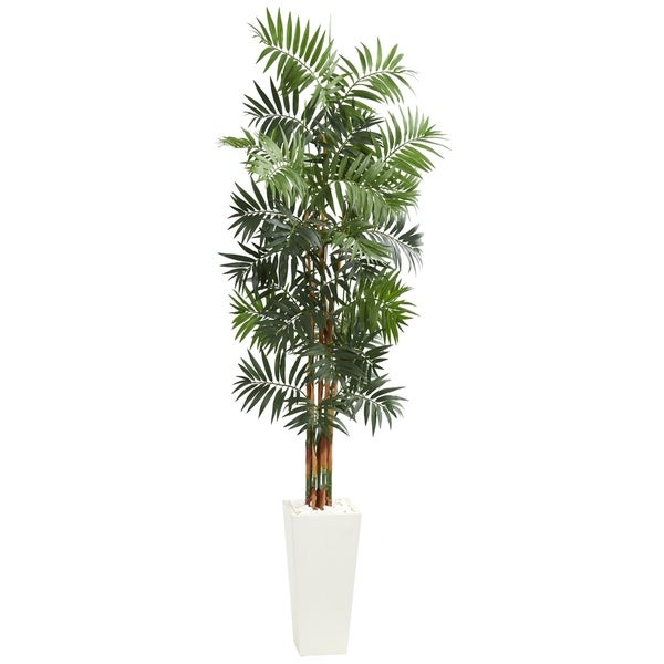 7' Bamboo Palm Artificial Tree in White Tower Planter - h: 7 ft. w: 30 in. d: 30 in.