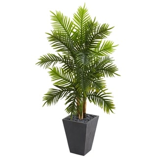 5.5' Areca Palm Artificial Tree in Slate Finished Planter (Real Touch) - h: 5.5 ft. w: 32 in. d: 21 in