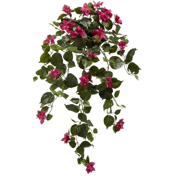 """37"""" Bougainvillea Hanging Artificial Plant (Set of 2) - h: 37 in. w: 22 in. d: 19 in"""