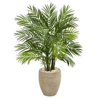 4' Areca Palm Artificial Tree in Sand Colored Planter - h: 4 ft. w: 30 in. d: 27 in