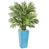 4.5' Areca Plam Artificial Tree in Turquoise Planter - h: 4.5 ft. w: 30 in. d: 27 in