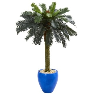 4' Sago Palm Artificial Tree in Glazed Blue Planter - h: 4 ft. w: 34 in. d: 32 in