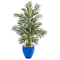 4.5' Areca Palm Artificial Tree in Glazed Blue Planter UV Resistant (Indoor/Outdoor) - h: 4.5 ft. w: 26 in. d: 30 in