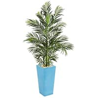 5' Areca Palm Artificial Tree in Turquoise Planter UV Resistant (Indoor/Outdoor) - h: 5 ft. w: 26 in. d: 21 in