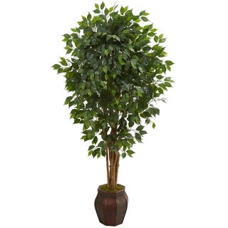 6' Ficus Artificial Tree in Decorative Planter - h: 6 ft. w: 37 in. d: 30 in