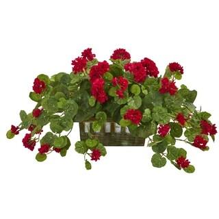 Geranium Artificial Plant in Decorative Planter - h: 15 in. w: 34 in. d: 11 in