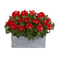 Hibiscus Artificial Plant in Stone Planter - h: 22 in. w: 28 in. d: 12 in
