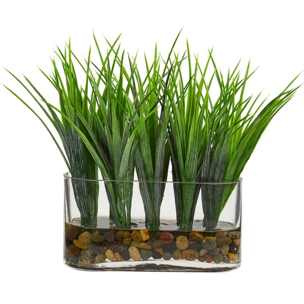Shop Vanilla Grass Artificial Plant in Oval Vase - h: 9 in ...