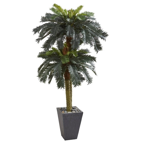 6' Double Sago Palm Artificial Tree Slate Finished Planter - h: 6 ft. w: 34 in. d: 34 in