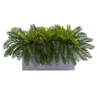 Cycas Aritificial Plant in Stone Planter - h: 15 in. w: 36 in. d: 18 in