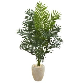 5.5' Paradise Artificial Palm Tree in Sand Colored Planter - h: 5.5 ft. w: 38 in. d: 26 in
