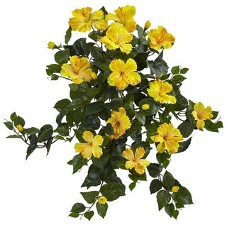 """24"""" Hibiscus Hanging Artificial Plant (Set of 2) - h: 24 in. w: 25 in. d: 12 in"""