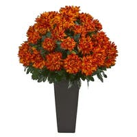"""27"""" Spider Mum Artificial Plant in Black Planter - h: 27 in. w: 17 in. d: 17 in"""