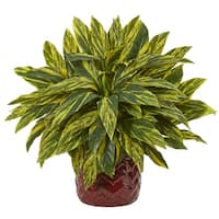 Tradescantia Artificial Plant in Red Vase - h: 19 in. w: 20 in. d: 20 in