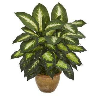 Dieffenbachia Artificial Plant in Ceramic Planter - h: 18 in. w: 16 in. d: 16 in
