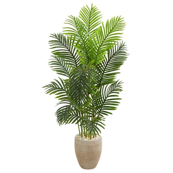5' Paradise Palm Artificial Tree in Sand Colored Planter - h: 5 ft. w: 28 in. d: 28 in