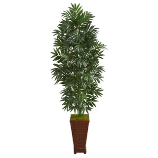 5.5' Bamboo Palm Artificial Plant in Decorative Planter - h: 5.5 ft. w: 20 in. d: 20 in