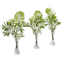 Mini Palm Artificial Plant in Vase (Set of 3) - h: 19 in. w: 10 in. d: 2 in