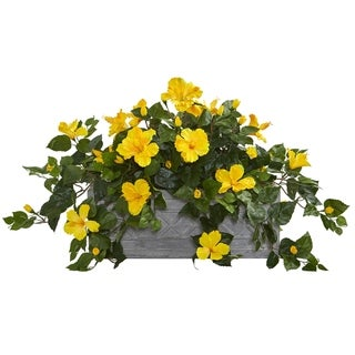 Hibiscus Artificial Plant in Stone Planter - h: 18 in. w: 28 in. d: 15 in