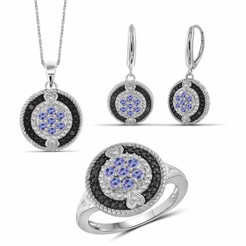 JewelonFire 1.10 Carat T.G.W. Genuine Tanzanite & 1/10 Carat Black & White Diamond Sterling Silver 3-Piece Jewelry Set