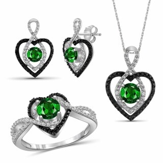 JewelonFire 2.10 Carat T.G.W. Genuine Chrome Diopside & 1/20 Carat Black & White Diamond Sterling Silver 3-Piece Jewelry Set