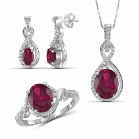 JewelonFire 5.40 Carat T.G.W. Genuine Ruby & 1/20 Carat White Diamond Sterling Silver 3-Piece Jewelry Set