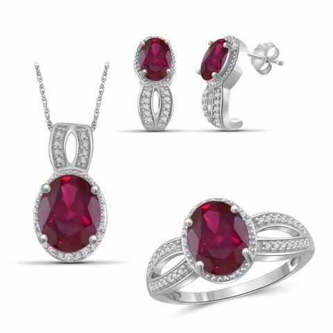JewelonFire Ruby & 1/20 Ct Diamond Sterling Silver 3-Piece Jewelry Set