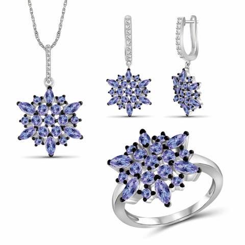 JewelonFire Tanzanite Gemstone Sterling Silver 3-Piece Jewelry Set