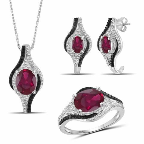 JewelonFire Ruby & 1/10 Ct Diamond Sterling Silver 3-Piece Jewelry Set