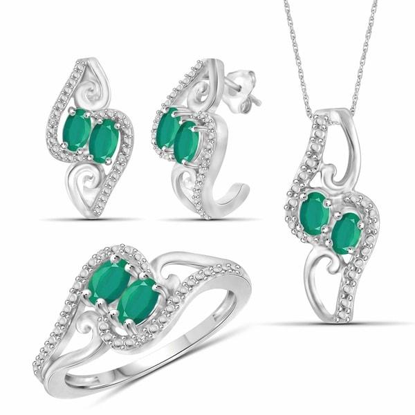 b51196280 ... Jewelry Sets. JewelonFire 1.80 Carat T.G.W. Genuine Emerald & 1/20  Carat White Diamond Sterling Silver