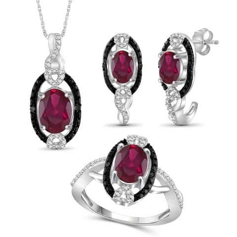 JewelonFire 4.80 Carat T.G.W. Genuine Ruby & 1/20 Carat Black & White Diamond Sterling Silver 3-Piece Jewelry Set