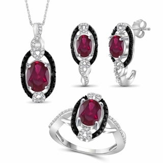JewelonFire 4.80 Carat T.G.W. Genuine Ruby & 1/20 Carat Black & White Diamond Sterling Silver 3-Piece Jewelry Set