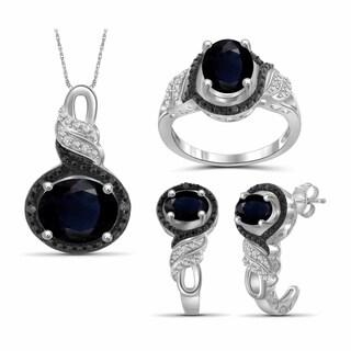 JewelonFire 5.20 Carat T.G.W. Genuine Sapphire & 1/20 Carat Black & White Diamond Sterling Silver 3-Piece Jewelry Set