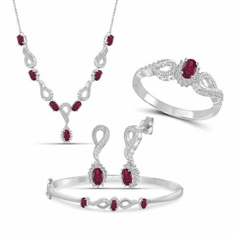 JewelonFire 3.30 Carat T.G.W. Genuine Ruby & 1/10 Carat White Diamond Sterling Silver 4-Piece Jewelry Set