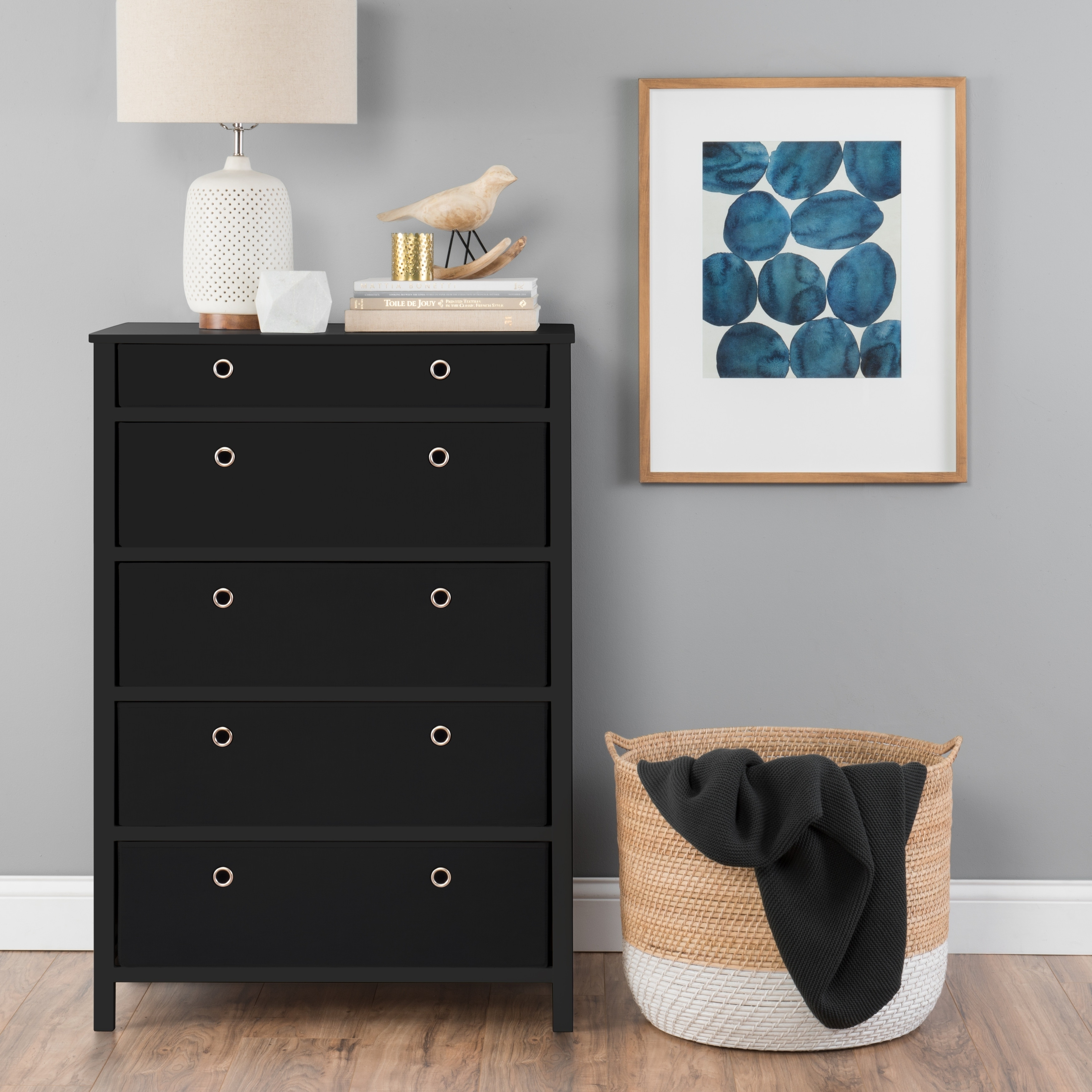 Ez Home Solutions Foldable Furniture 5 Drawer Tall Dresser