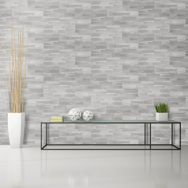 Shop bolder stone 6in x 24in self adhesive stone wall tile smoke 6 tiles 6 sq ft free for Mcm interior wall stone reviews