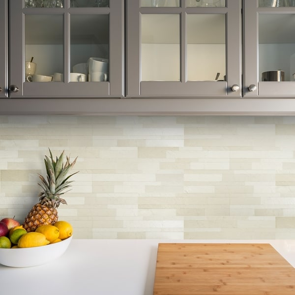 Bolder Stone ™ 6in x 24in Self Adhesive Stone Wall Tile - Alabaster - 6 Tiles/6 sq Ft.