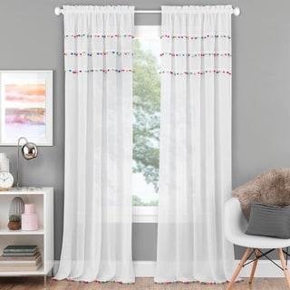 Pom Pom Rod Pocket Window Curtain Panel - Bright (52 w x 63 l inches - 63 Inches)