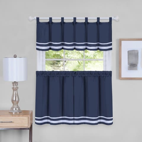 Dakota Window Curtain Tier Pair and Valance Set