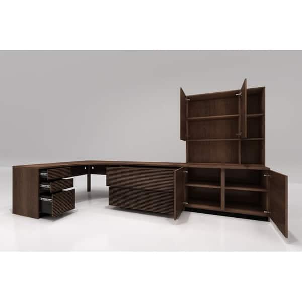 Shop Furnitech 51 Corner Desk In Brazilian Cherry Wood Free