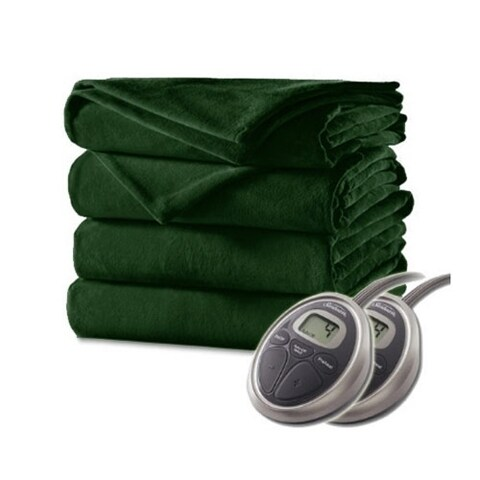 Sunbeam Velvet Plush Electric Heated Blanket King Size Ivy Green