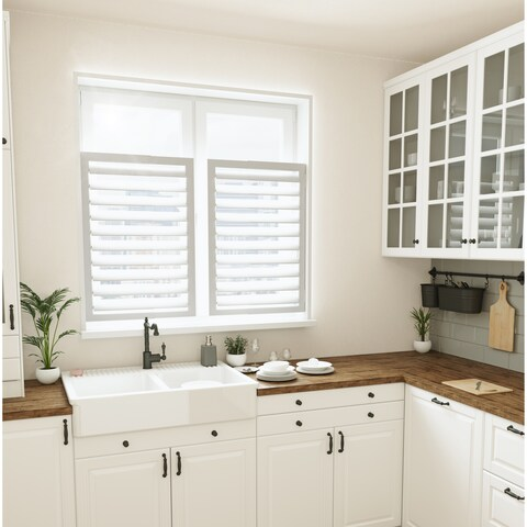 Umbra Expansa White Tool Free Self Adjusting Expanding Window Plantation Shutter - 15 to 22 inches wide