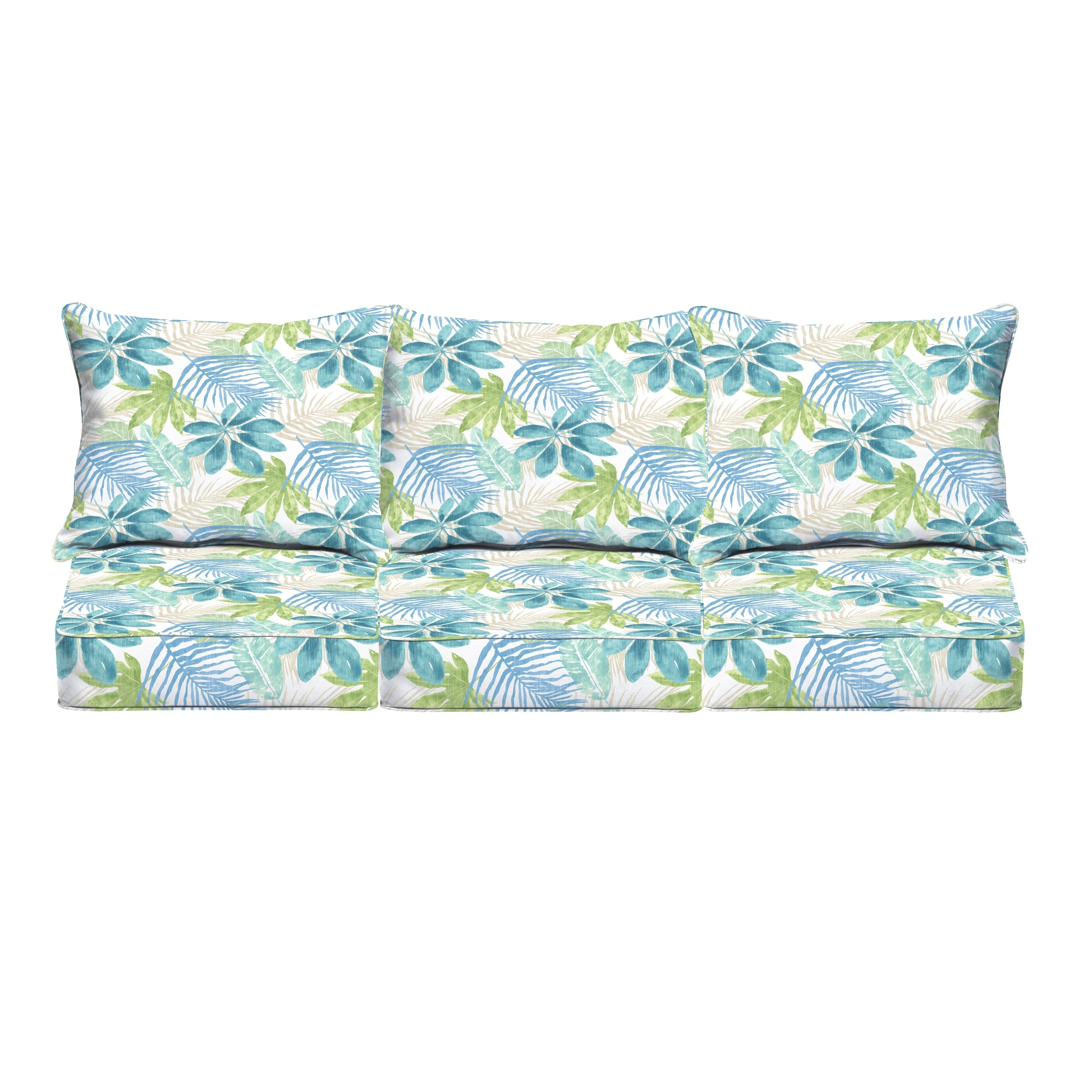 Tremendous Humble Haute Indoor Outdoor Blue Green Tropical Deep Seating 6 Pc Cushion Set 69 In W X 25 In D Bralicious Painted Fabric Chair Ideas Braliciousco