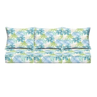 Humble + Haute Indoor/ Outdoor Blue/ Green Tropical Deep Seating 6-pc Cushion Set - 69 in w x 25 in d