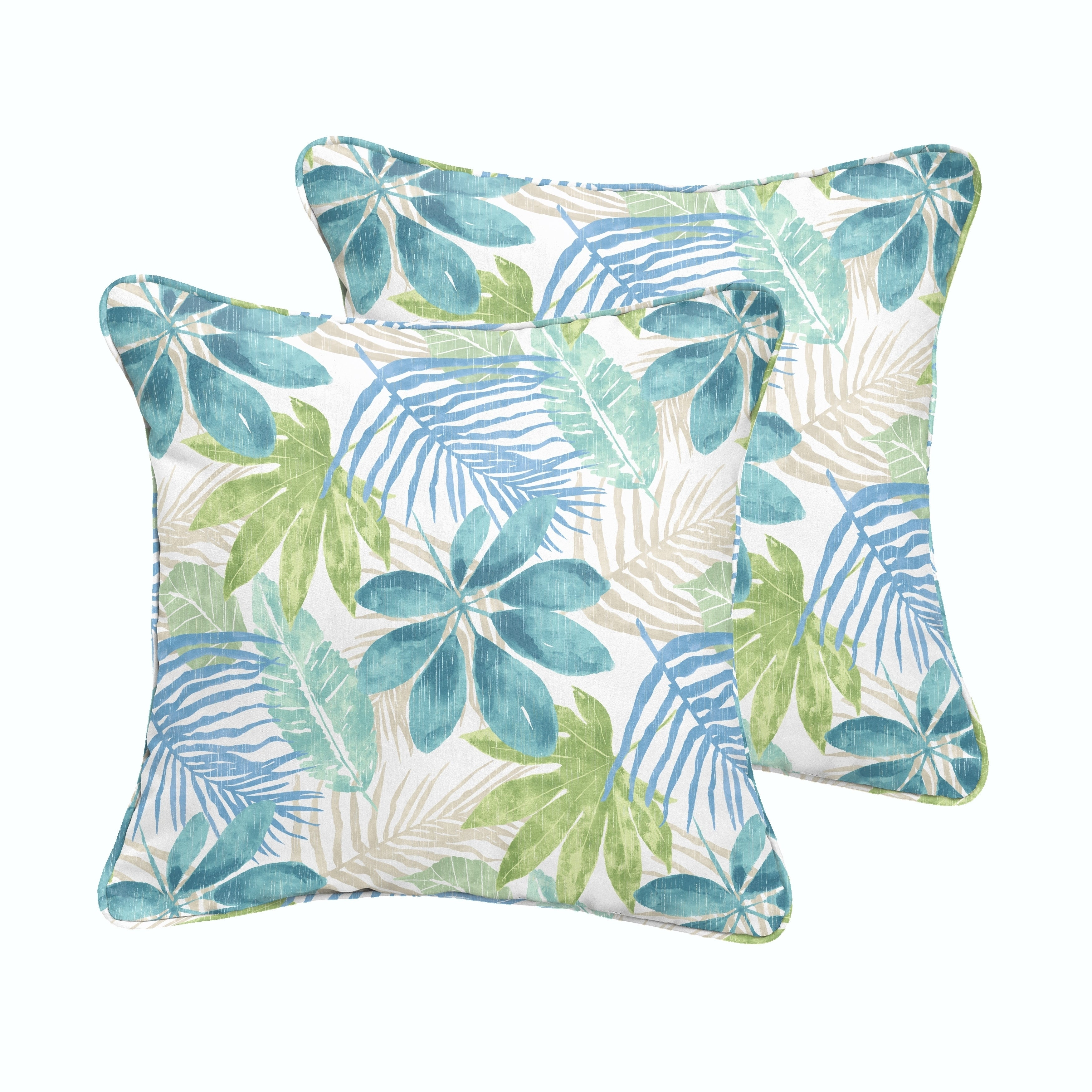 Humble + Haute Indoor/ Outdoor Blue/ Green Tropical Square Pillow, Set of 2 (18 in h x 18 in w)